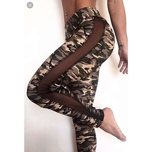 • ABS2B Camo Green Mesh Sides Leggings •